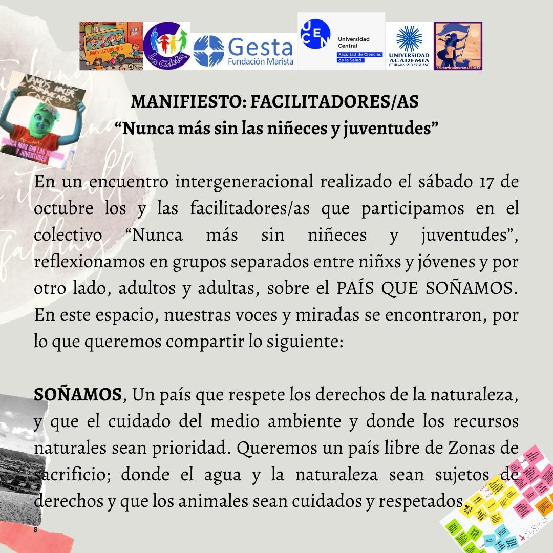 Manifiesto 1: Facilitadores/as «NUNCA MÁS SIN LAS NIÑECES Y JUVENTUDES»