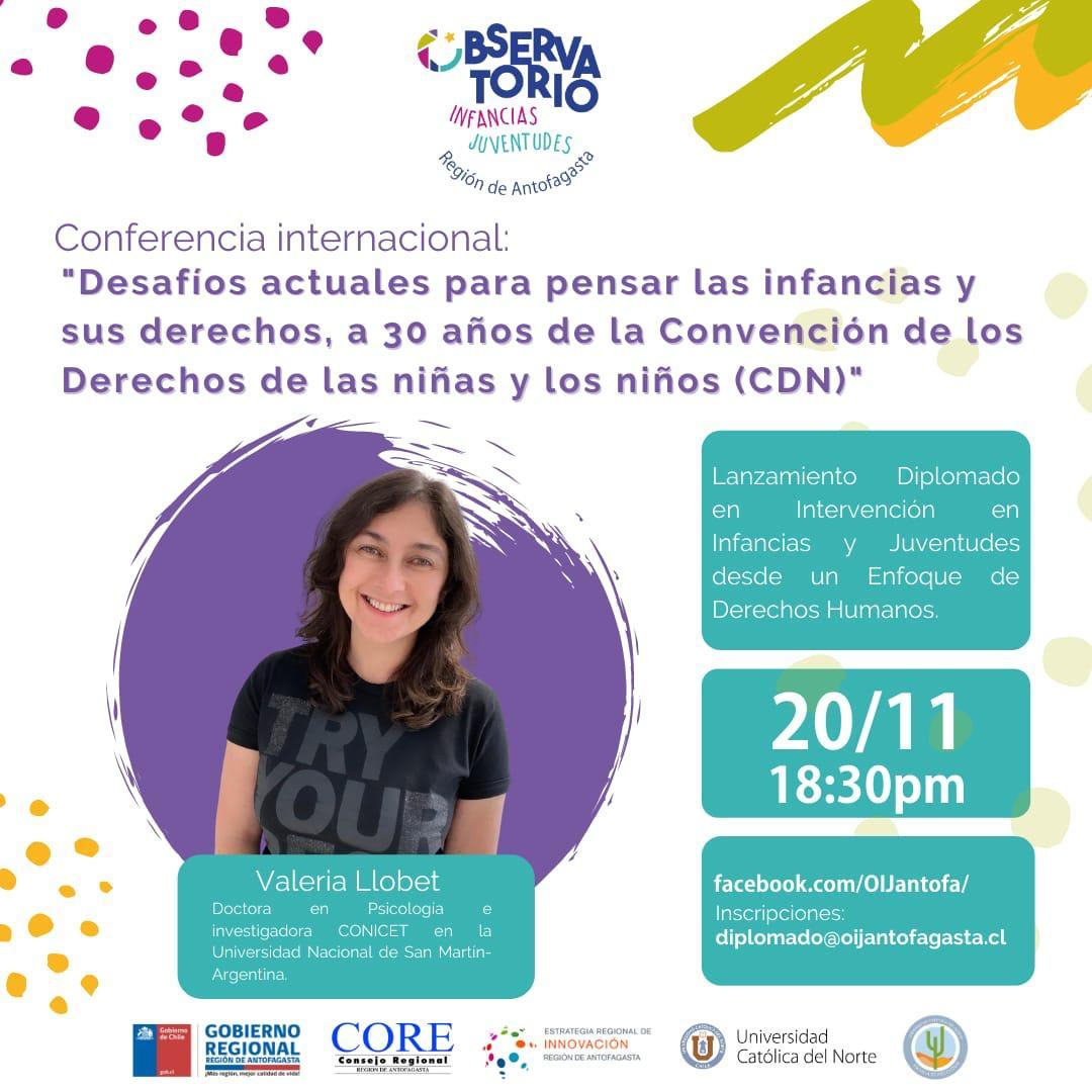 """Conferencia Internacional: """"Desafíos actuales para pensar las infancias y sus derechos, a 30 años de la Convención de los Derechos de las niñas y los niños (CDN)""""."""