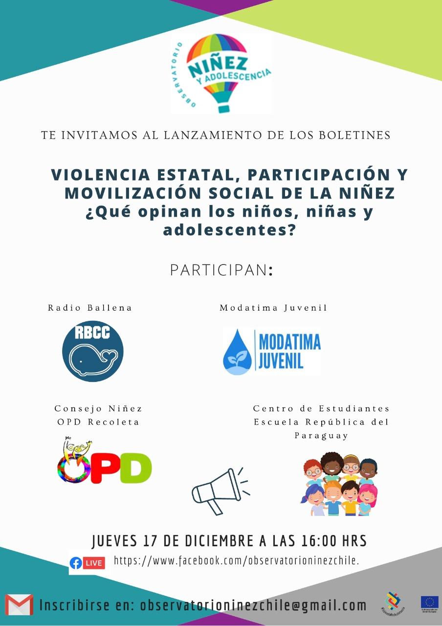 L@S INVITAMOS al lanzamiento de los reportes «Violencia estatal contra NNA»